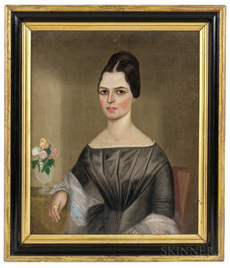 American School, 19th Century      Portrait of Ruth Eliza Gates in a Gray Dress with Small Vase of Flowers