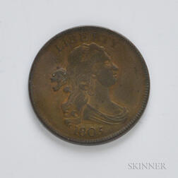 1805 No Stems Draped Bust Half Cent