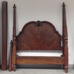 Chippendale-style Carved Mahogany Veneer Tall Post Bed