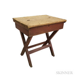 Red-painted Pine Sawbuck-base School Desk
