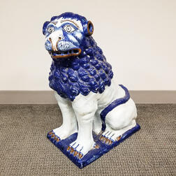Large Italianate Faience Ceramic Lion