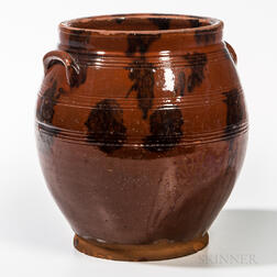 Manganese-decorated Redware Jar