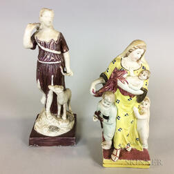 Two Lustre-decorated Ceramic Figures