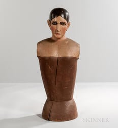 Large Carved and Painted Wood and Gesso Half-length Mannequin