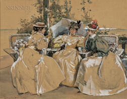 Alice Barber Stephens (American, 1858-1932)      Three Elegant Seated Ladies with Parasols