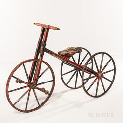 Early Painted Wood Tricycle