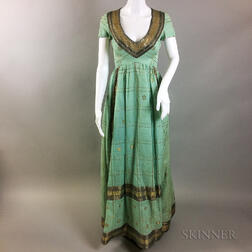Arnold Scaasi Linen and Sequin Turquoise Gown