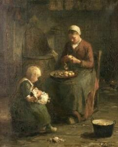Evert Pieters (Dutch, 1856-1932)  Peeling Potatoes