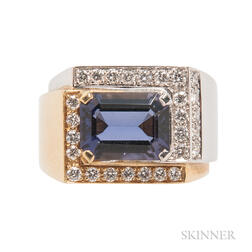 18kt Bicolor Gold, Diamond, and Iolite Ring