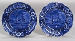 Pair of  Pittsfield Blue Transfer Decorated Staffordshire Pottery Plates