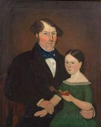 American School, 19th Century   Portrait of a Man and His Daughter.
