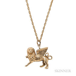 14kt Winged Lion Pendant