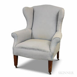 Federal-style Upholstered Mahogany Wing Chair