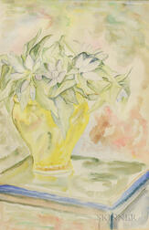EE (Edward Estlin) Cummings (American, 1894-1962)    Flowers in a Yellow Vase