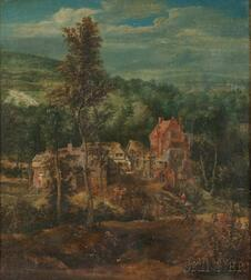 Flemish School, 16th Century Style      Landscape with View to a Village Square