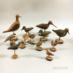 Twelve Carved and Painted Wood Shorebirds