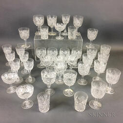Thirty-seven Pieces of Colorless Cut Glass Stemware