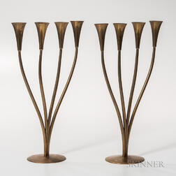 Pair of Richard Rohac (1906-1956) Art Deco Candleholders