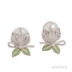 18kt Gold, Split South Sea Pearl, Plique-a-Jour Enamel, and Diamond Earclips, Evelyn Clothier