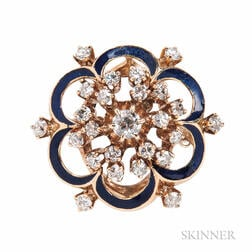 14kt Gold and Diamond Cluster Ring