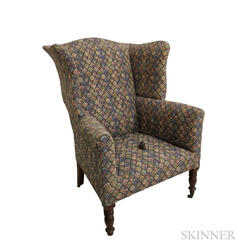 Federal Turned and Upholstered Mahogany Easy Chair