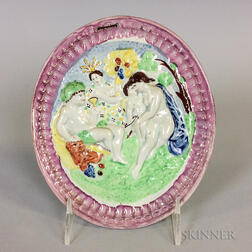 Polychrome Pink Lustre Ceramic Wall Plaque