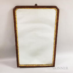 Georgian Walnut- and Mahogany-veneered and Parcel-gilt Mirror