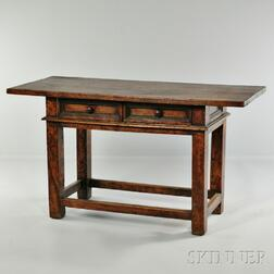 Continental Fruitwood Two-drawer Worktable