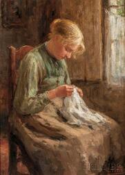 Evert Pieters (Dutch, 1856-1932)      Young Woman Mending