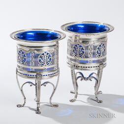 Pair of Silver-plated Wine Coolers, unmarked, each with a reticulated silver-plate frame and inset cobalt glass liner, ht. 9 in.