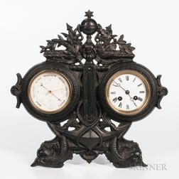Aneroid Barometer and Clock in a Naval Cast Iron Frame