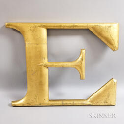 "Large Carved and Gilded Letter ""E,"""