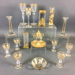 Sixteen Pieces of Gilt Colorless Glass