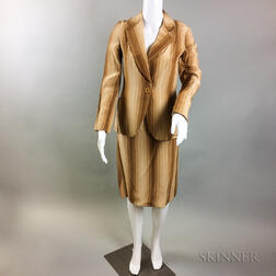 Bill Blass Brown Ombre Striped Suit
