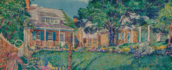 "Rutherford Boyd (American, 1884-1951)      Garden View, Possibly the Artist's Home, ""Boyd's Nest,"" in Leonia, New Jersey"