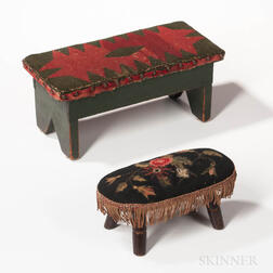 Two Painted and Upholstered Footstools