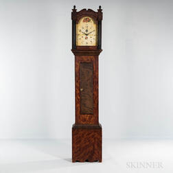 Grain-painted Wooden Works Tall Case Clock