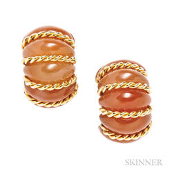 "18kt Gold and Carnelian ""Shrimp"" Earclips, Seaman Schepps"