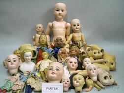 Large Group Lot of Doll Parts, Three Bisque Dolls, and Thirteen Bisque Heads