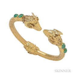 18kt Gold and Emerald Ram's Head Hinged Bangle