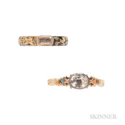 Two Antique Gold, Crystal, and Enamel Memento Mori Rings