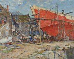 Harry Aiken Vincent (American, 1864-1931)      View of Shipbuilders and a Commercial Sail Loft, Probably Rockport, Massachusetts