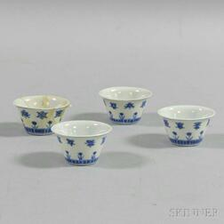 Set of Four Blue and White Cups