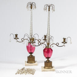 Pair of Cranberry and Crystal Girandoles