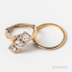 14kt Gold and Diamond Three-stone Ring and an 18kt Gold Band