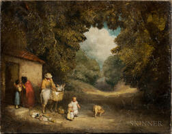School of George Morland (British, 1763-1804)      Genre Scene with Figures and Animals by a Small Cottage.
