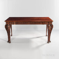 Georgian-style Carved Mahogany Side Table