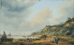 Johann Heinrich Sander (German, 1810-1865)    Coastal View with Vessels, Figures, and Cottages