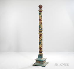 Turned and Polychrome Painted Barber Pole