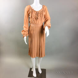Two Vintage Bill Blass Burnt Orange Pleated Dresses
